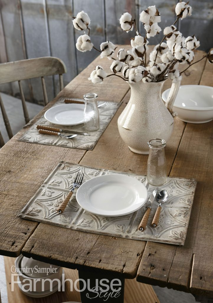 farm table with tin place mats