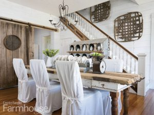 farmhouse table and stairs