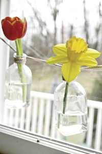flowers in bottles strung with string