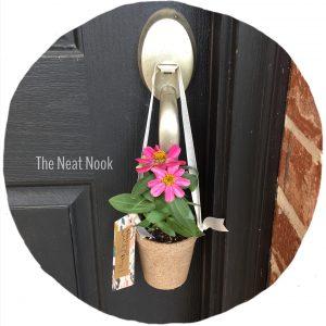 peat pot hanging from door knob
