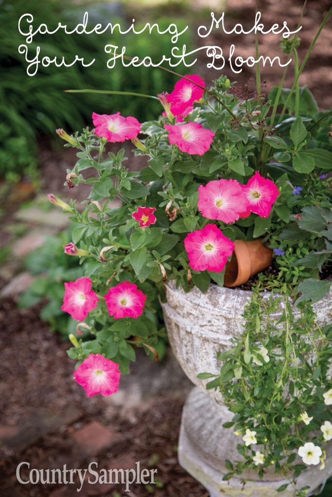 Gardening Makes the Heart Bloom with pink flower urn