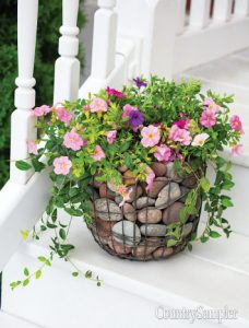 Flowers in Rock Basket