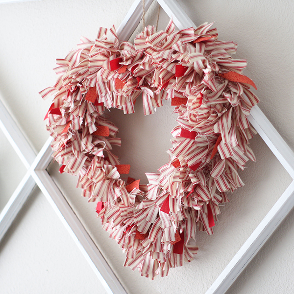 Ticking Fabric Wreath
